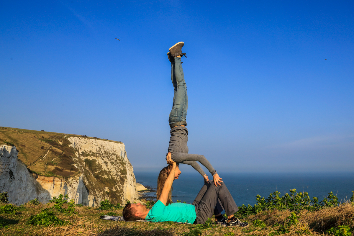 Extreme yoga Dover Cliffs