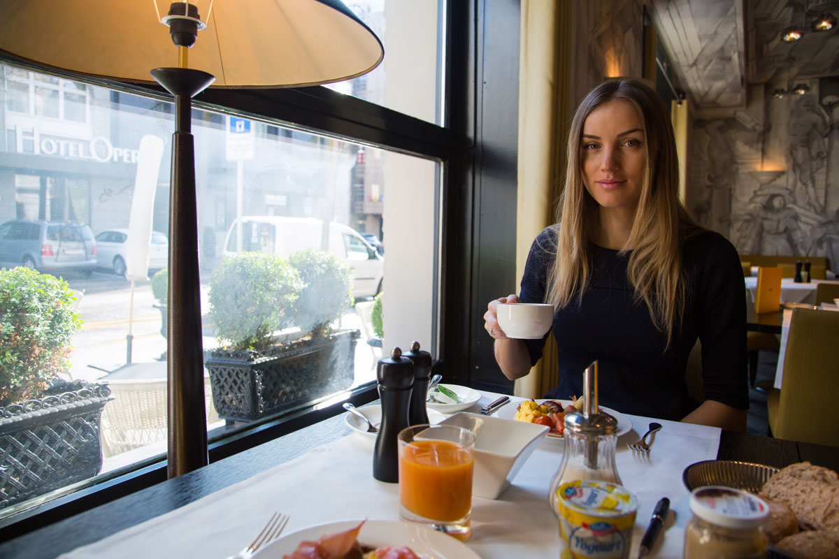Enjoying breakfast at Opera hotel