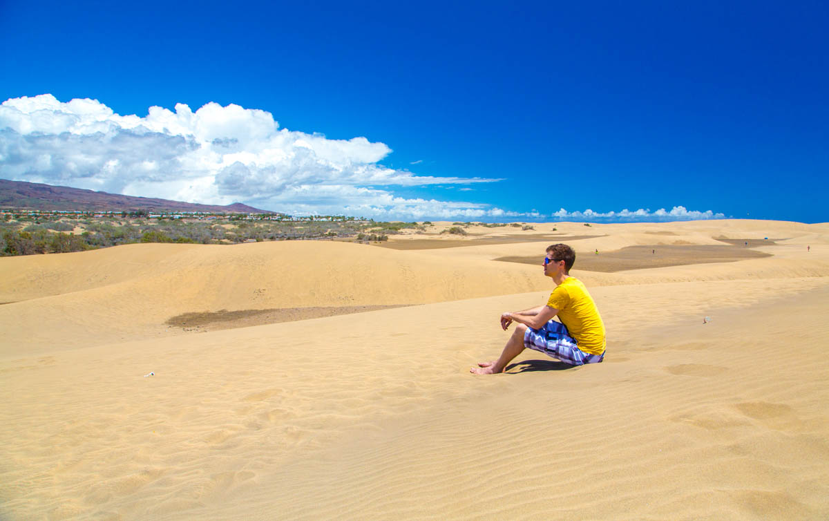 Enjoying Maspalomas Dunes view