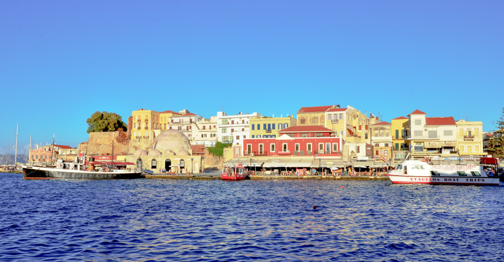 Visiting Venetian Harbor on a Crete island
