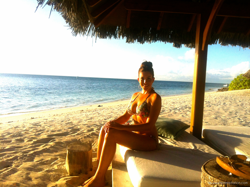 Desroches Island Seychelles Tanning Beach Sunset Girl