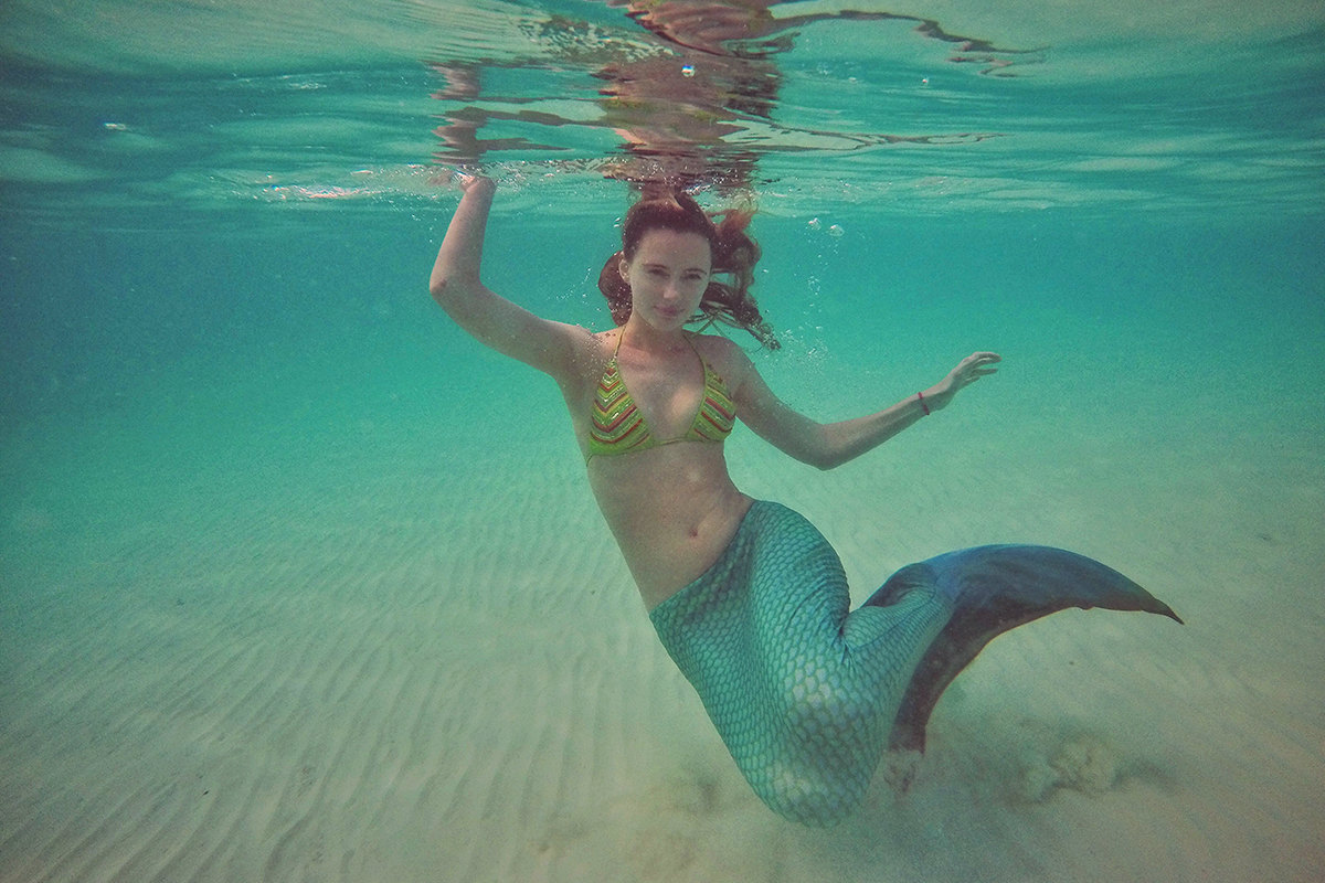 Swimming with mermaid tail