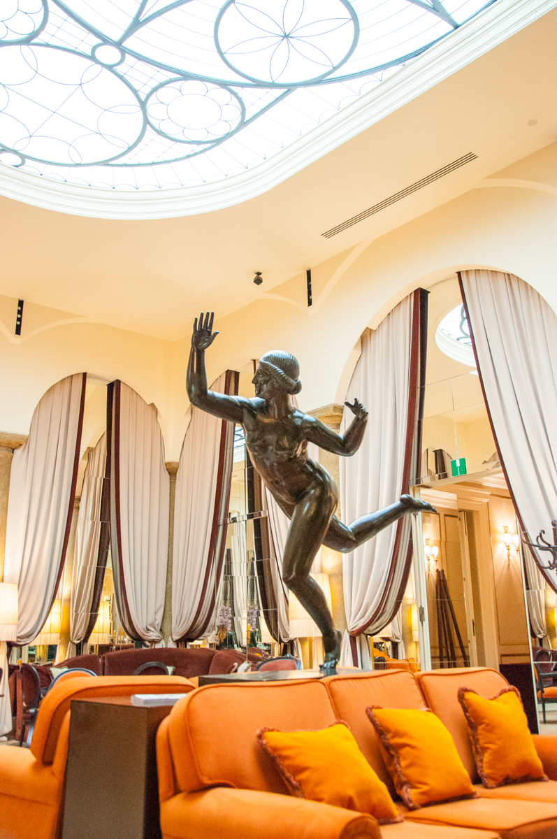 Statue in the hotel's lobby