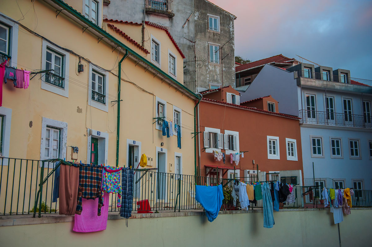 Ordinary life drying clothes Lisbon