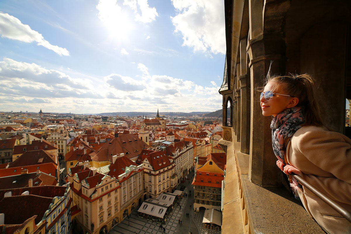 beautiful girl on sunny spring day in Prague