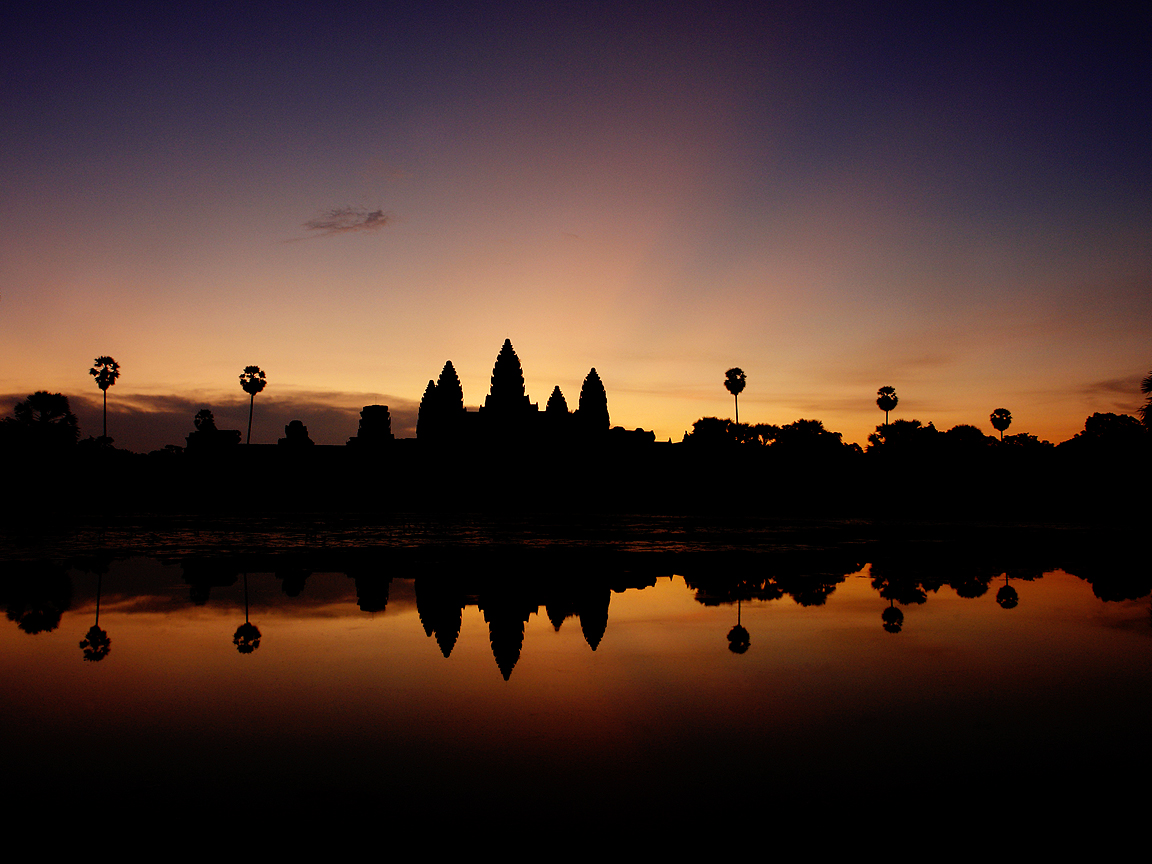 Colourful sunrise over Angkor Wat