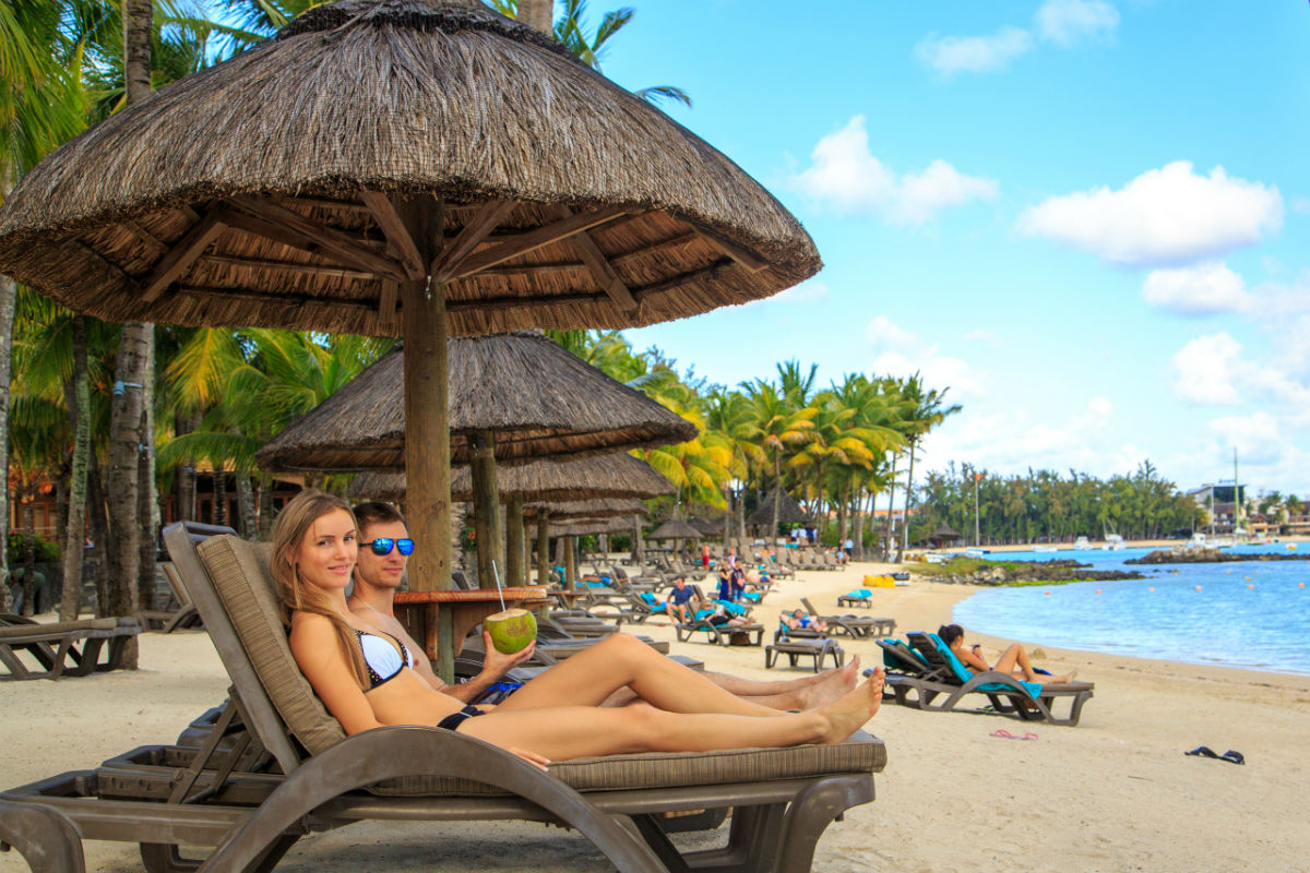 Relaxing on private beach Mauritius