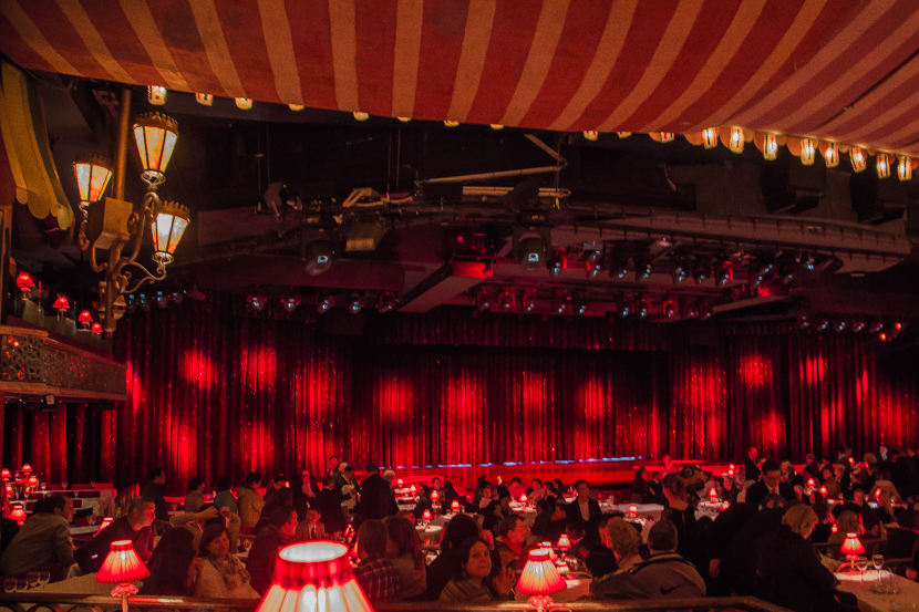 Main scene inside Moulin Rouge in Paris