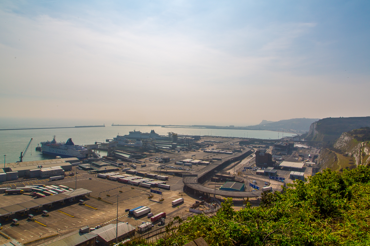 View over famous Dover Port