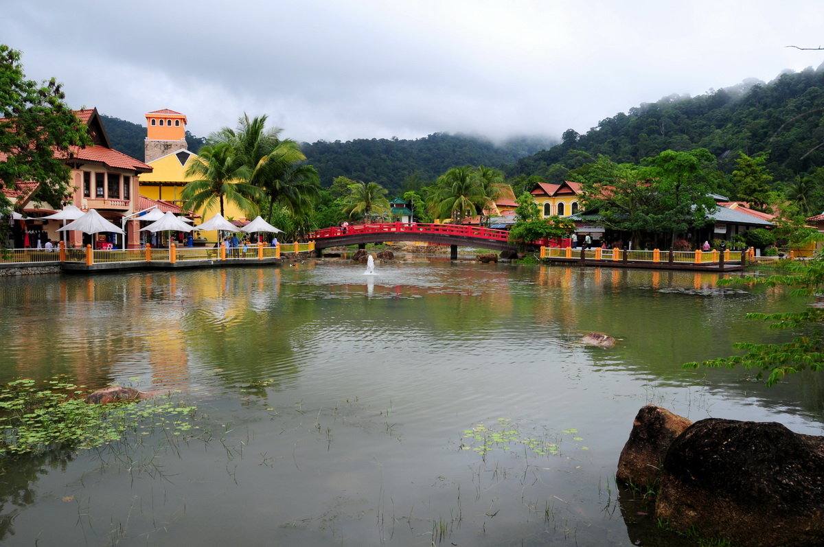 Tropical village at the foothill of Machincang Mountain