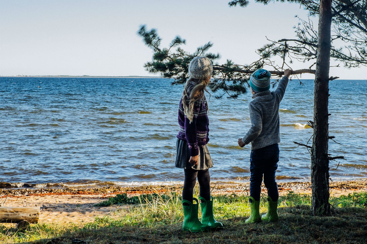 Kids near the Baltic sea coast