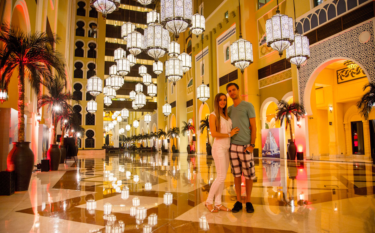 Couple in hotel hall