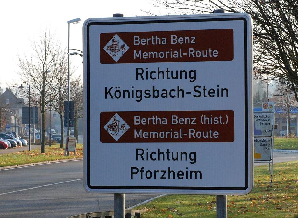 The Bertha Benz Memorial Route waymark in Germany