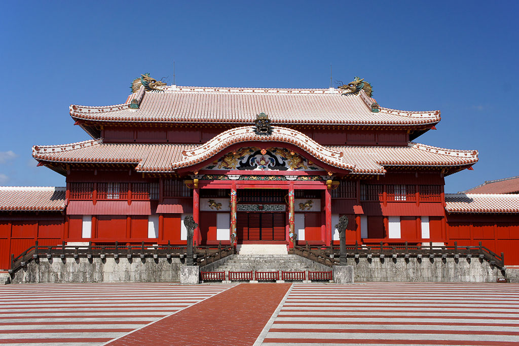 red beautifully restored Shurijo Castle in Japan