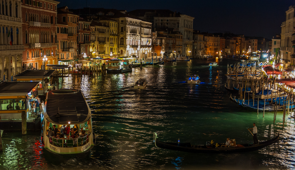View from the Rialto Bridge at night