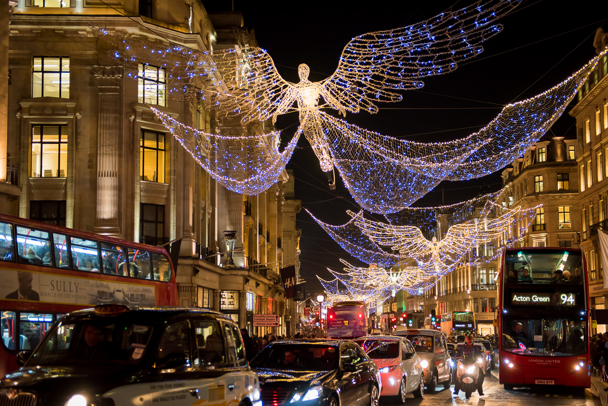 Christmas lightening at Regents street