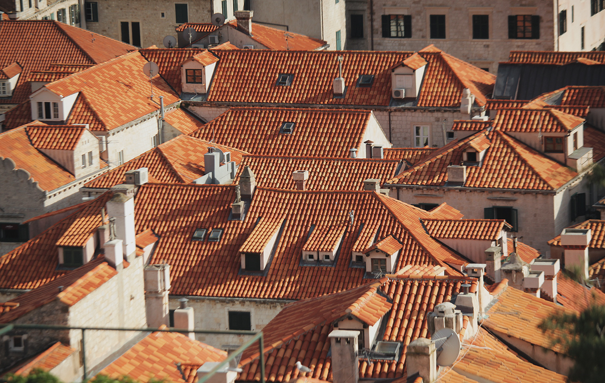 Dubrovnik buildings covered by red roofs