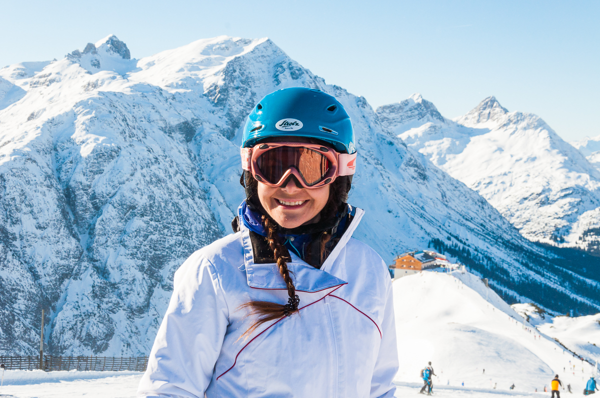 Beautiful woman skiing