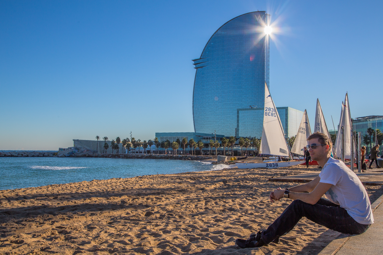 Artificial beach in Barcelona