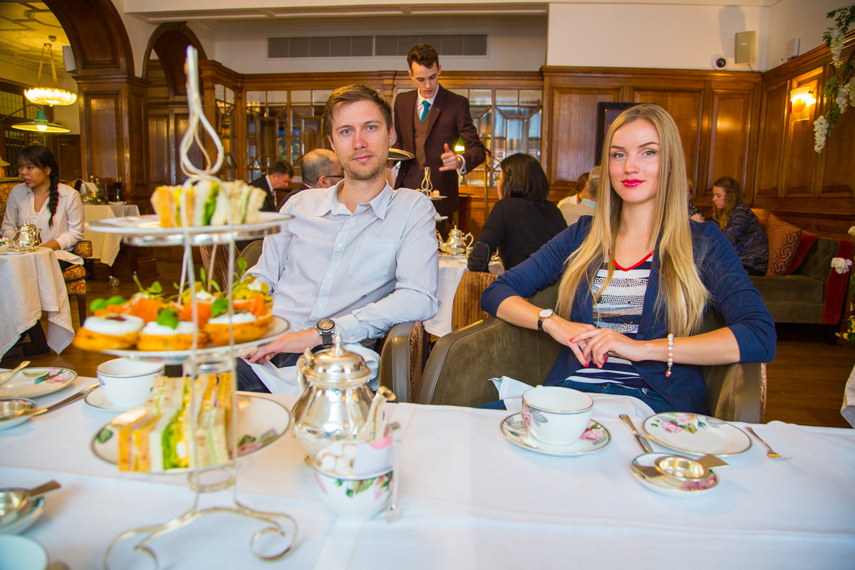 Enjoying afternoon tea
