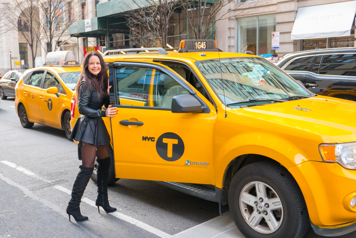 Taking taxi in New York streets