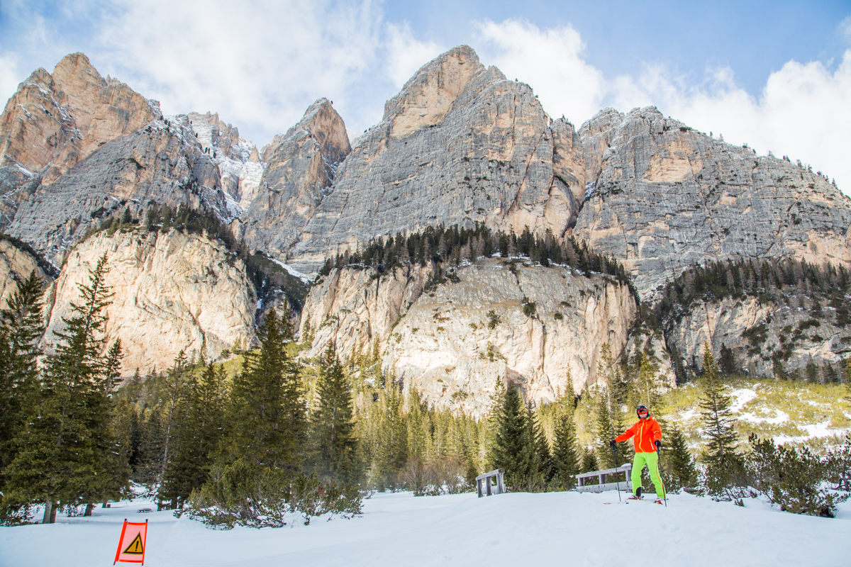 Skiing in Cortina with great mountain view