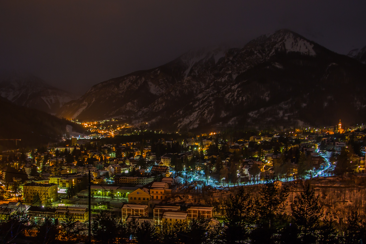 Night sky view ski resort Bardonecchia