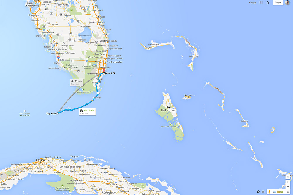 Cuba To Florida Map.Florida Road Trip From Miami To Key West