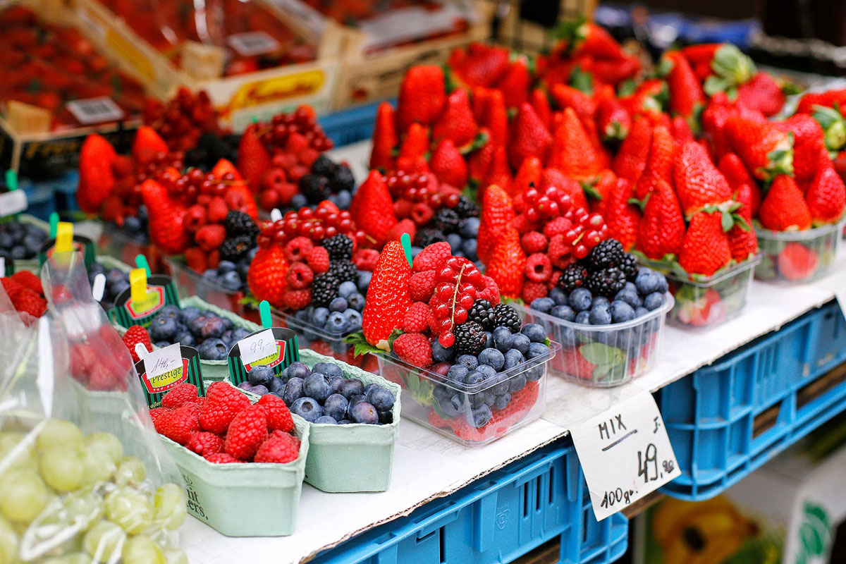 delicious and colourful berries in Prague markets
