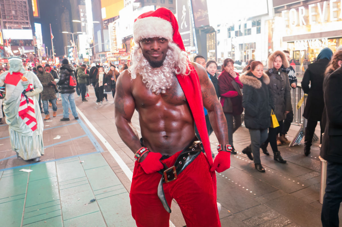 Sexy Santa Claus in New York streets