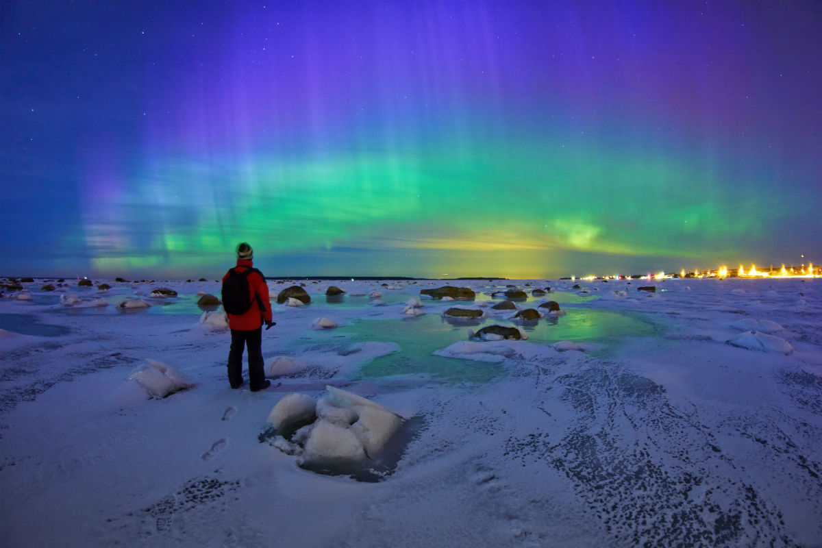 Nothern lights on the seaside