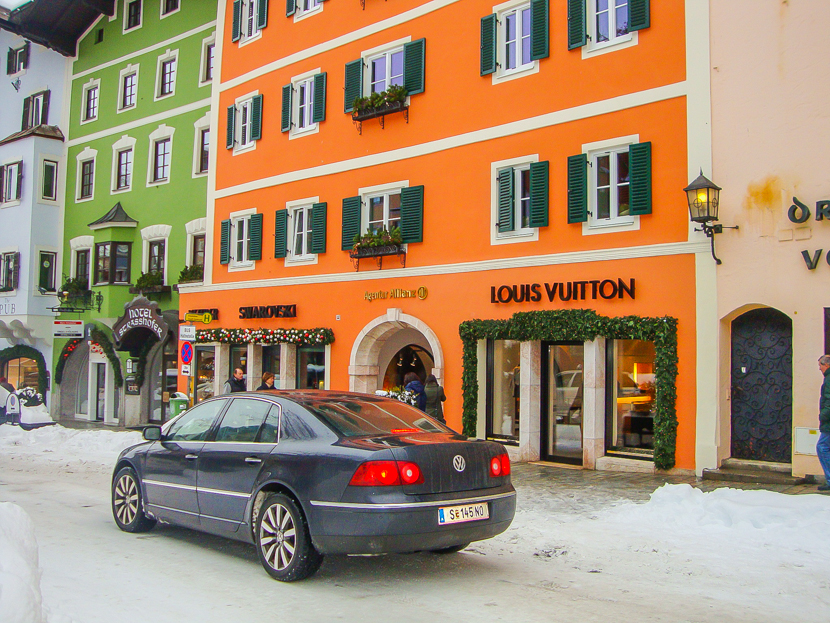 Great shops in ski resort in Alps
