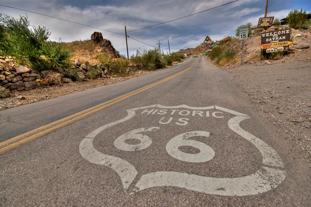 Route 66 sign on the road in the USA