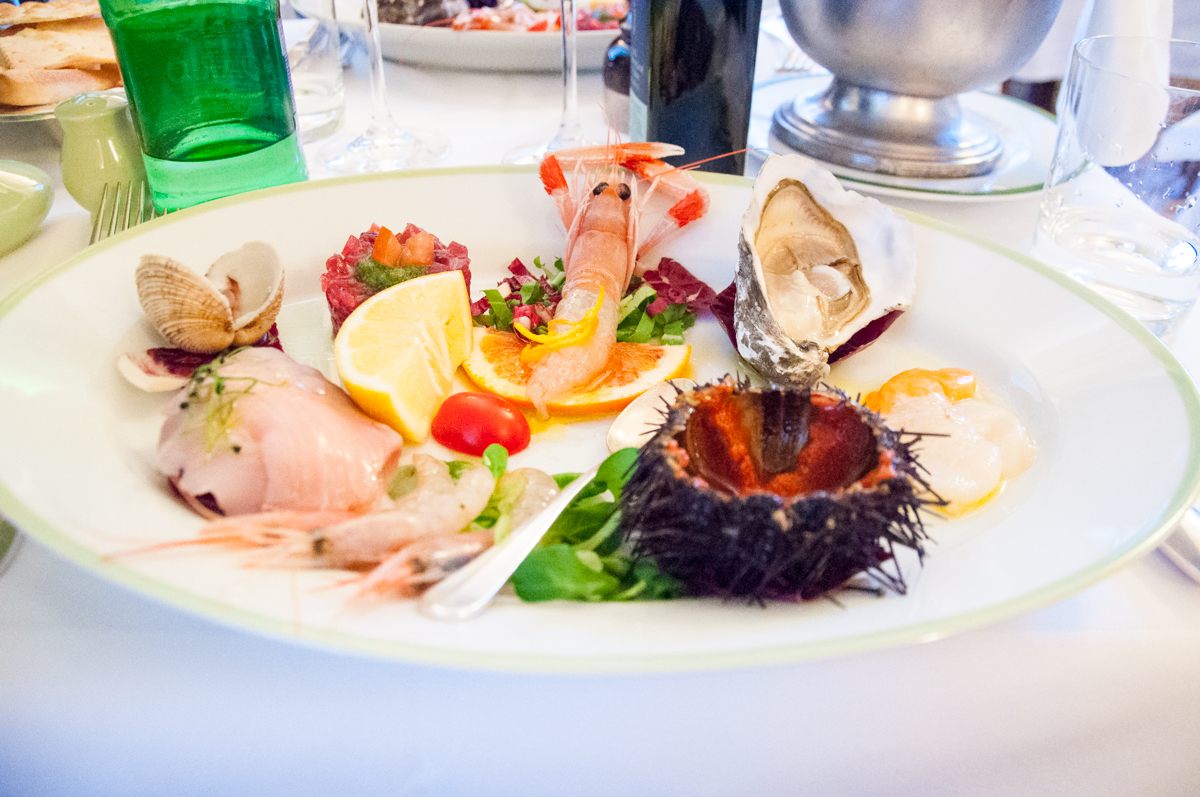 Plate of fresh seafood