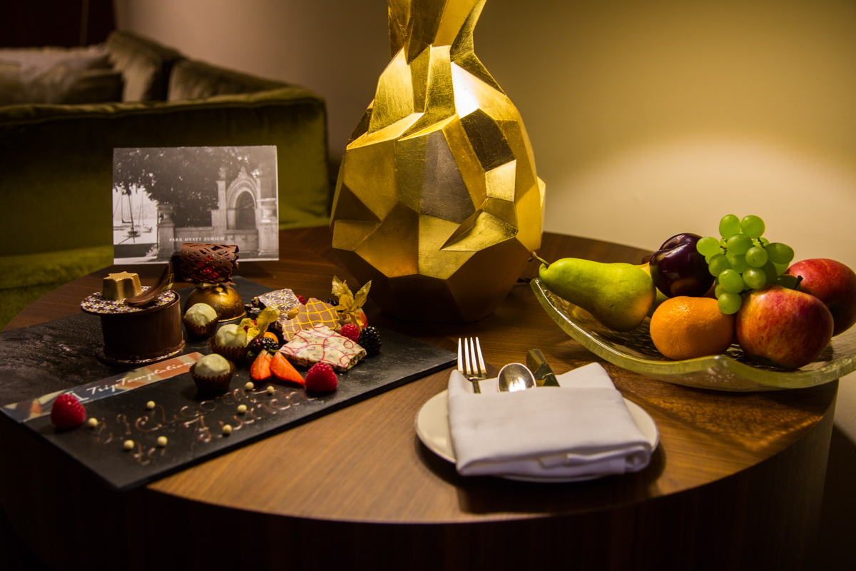 Welcome sweets and fruits in Park Hyatt