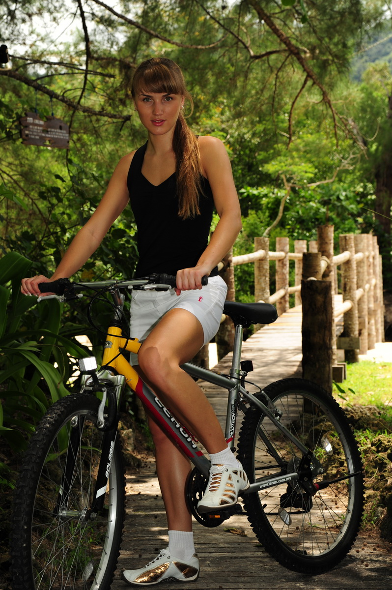 Riding bicycle in Langkawi tropics