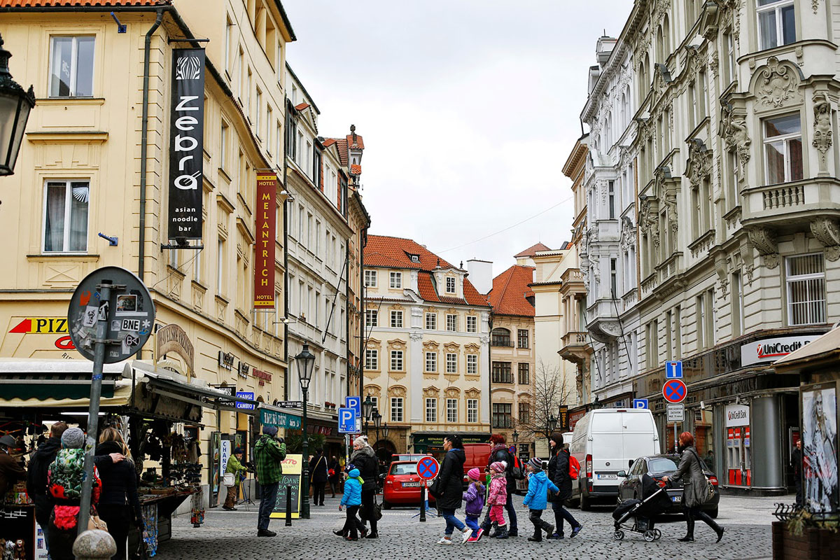 crowded streets in the Centre of Prague