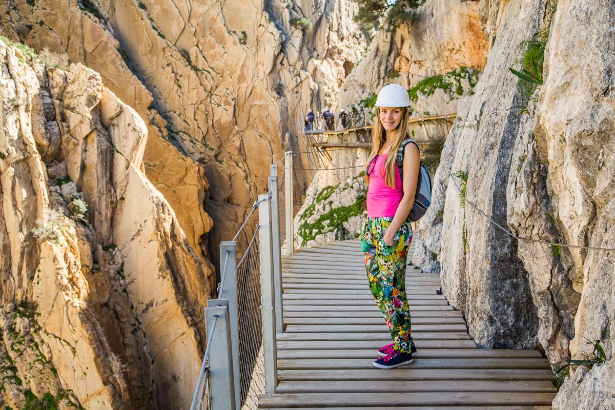 Beautiful woman exploring Caminito del Rey
