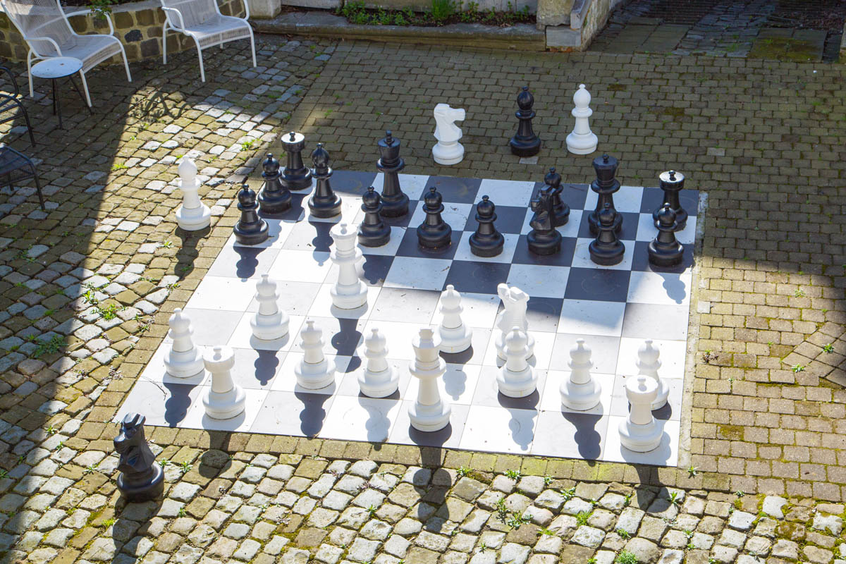 Huge chess board outside