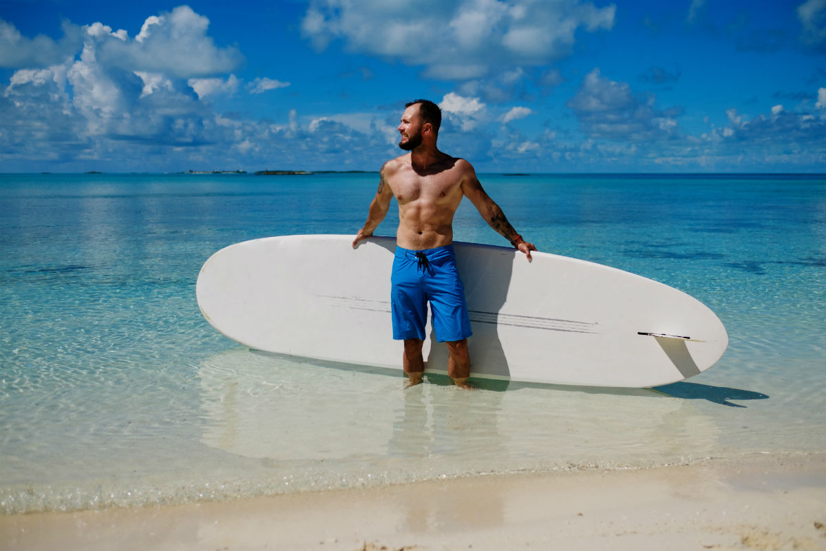 Enjoying surfing in the Bahamas
