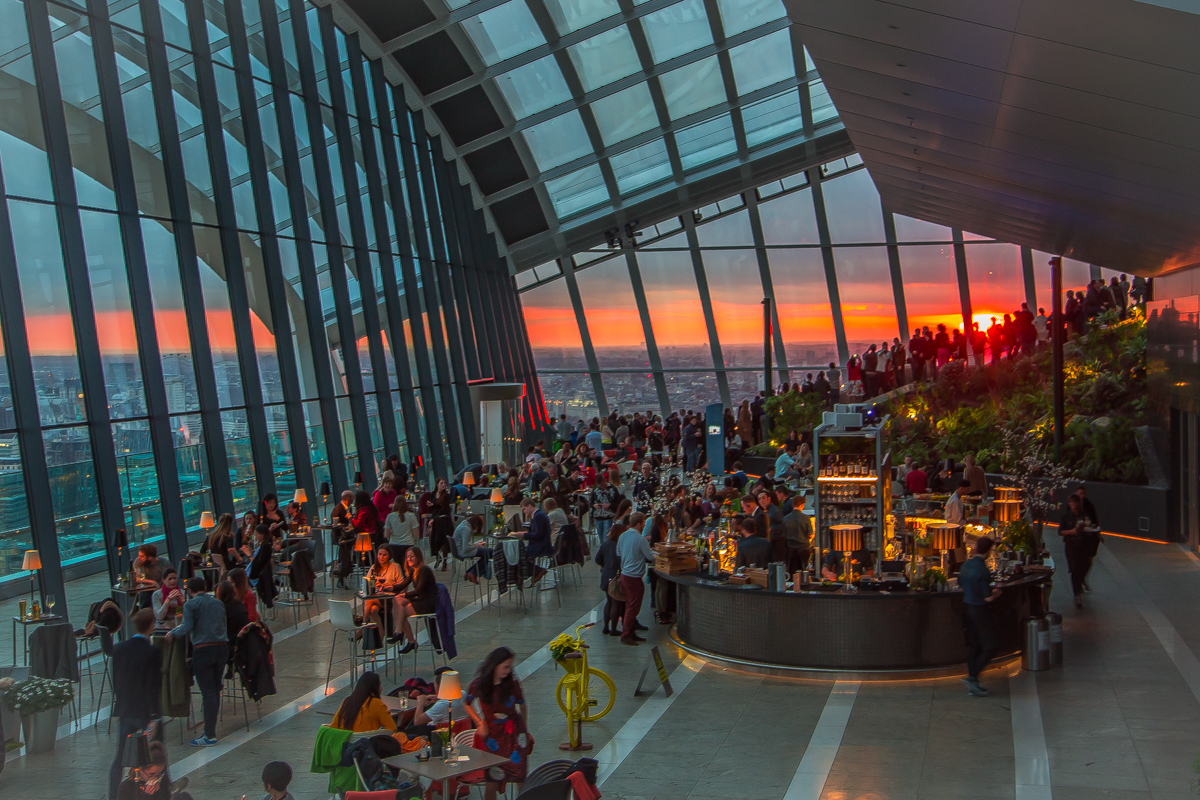 Gorgeous sunset in London Sky Garden