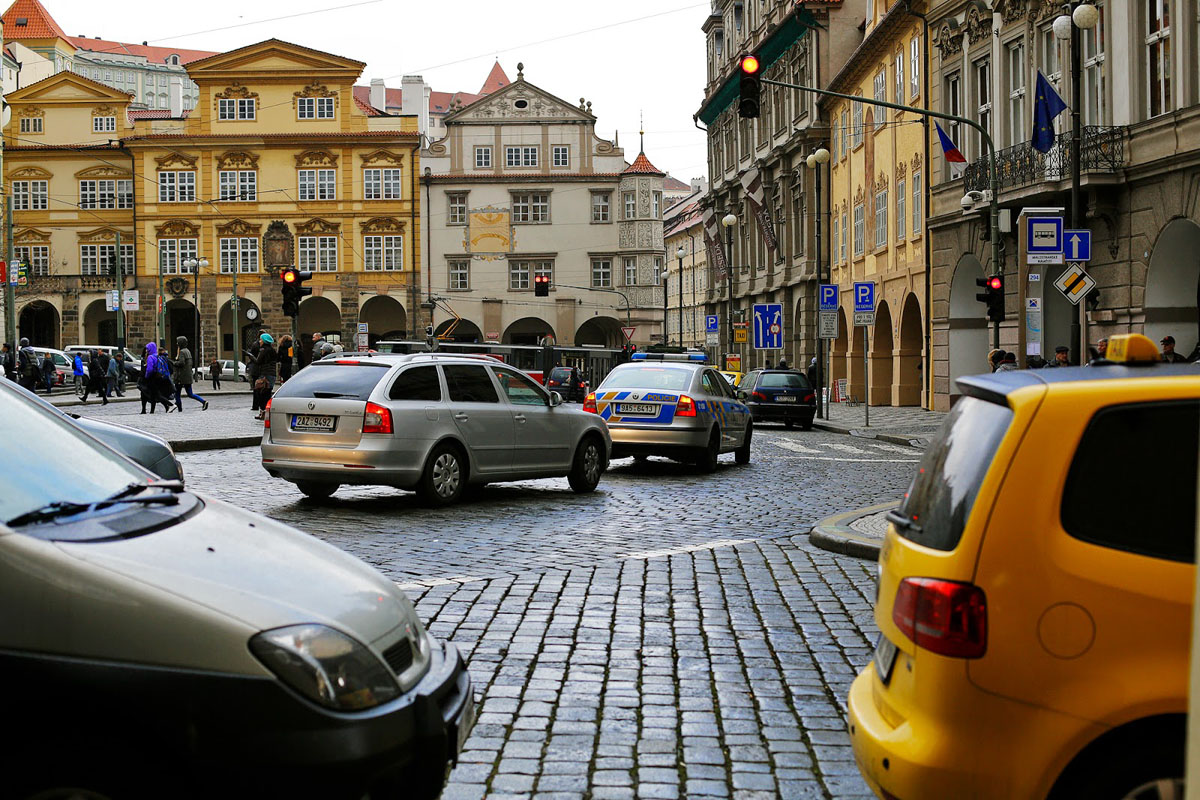a lot of cars on Prague streets