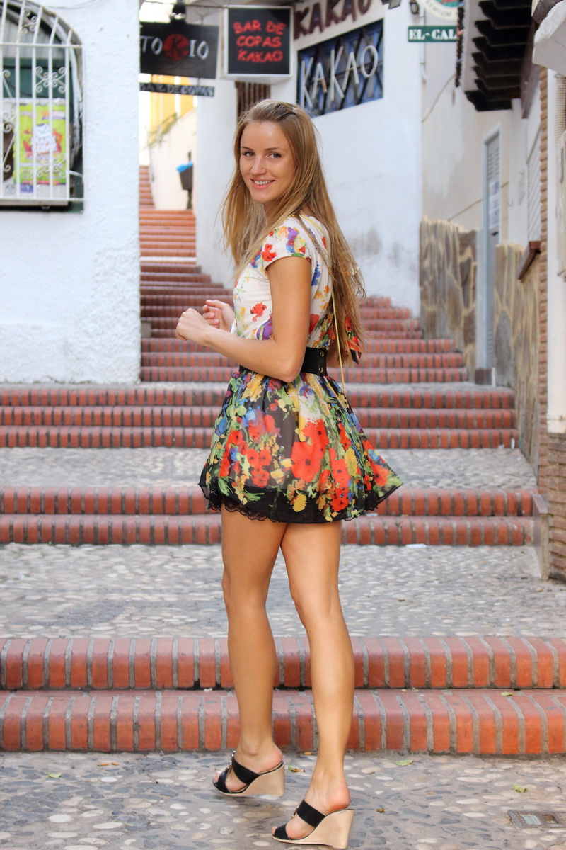beautiful girl exploring Benidorm historical Old Town