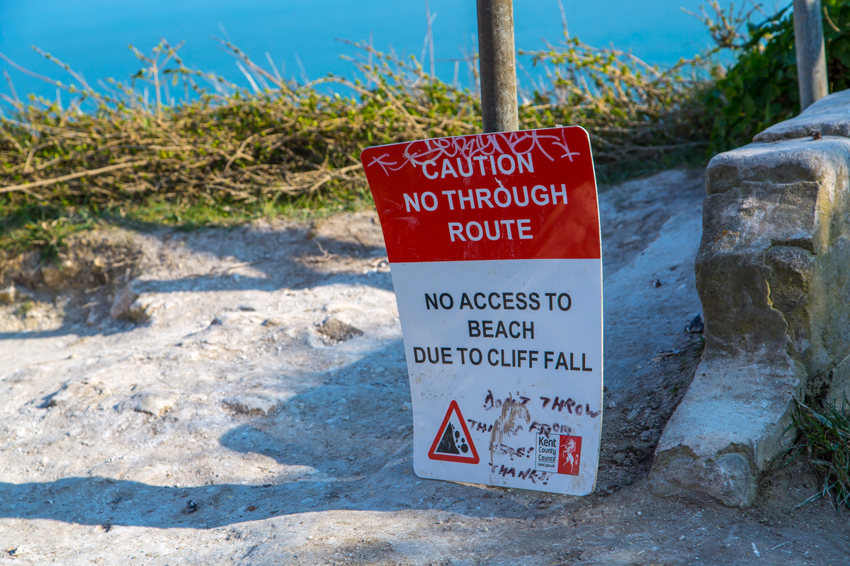 Dover Cliffs warning sign