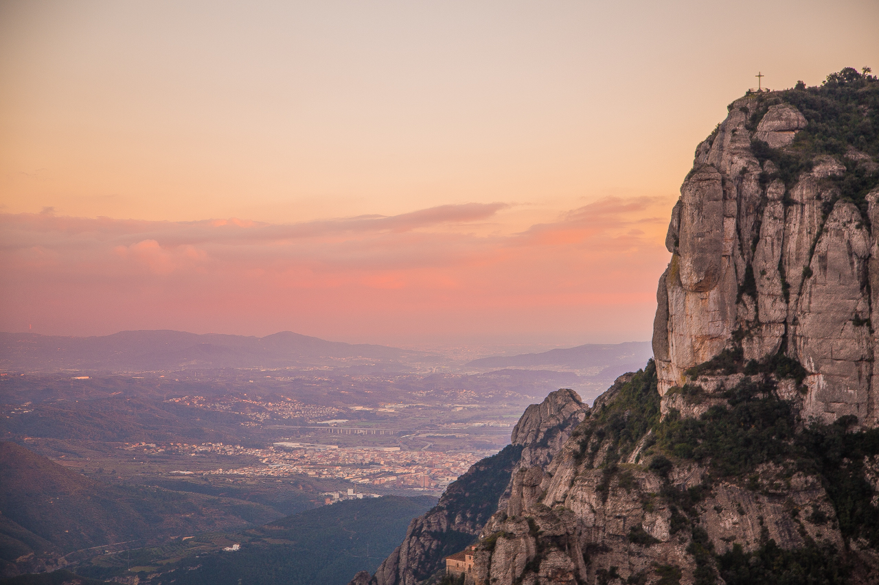 Montserrat panoramic view sunset