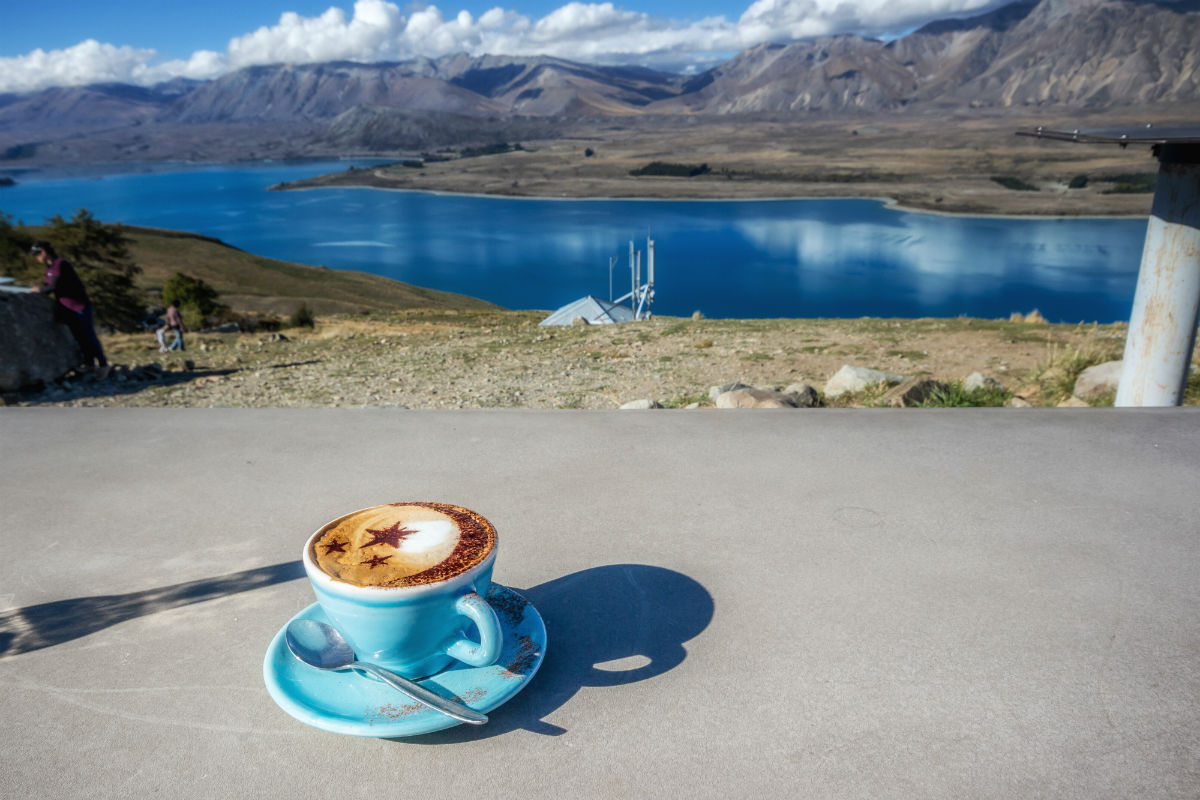 Coffee break in New Zealand with amazing view