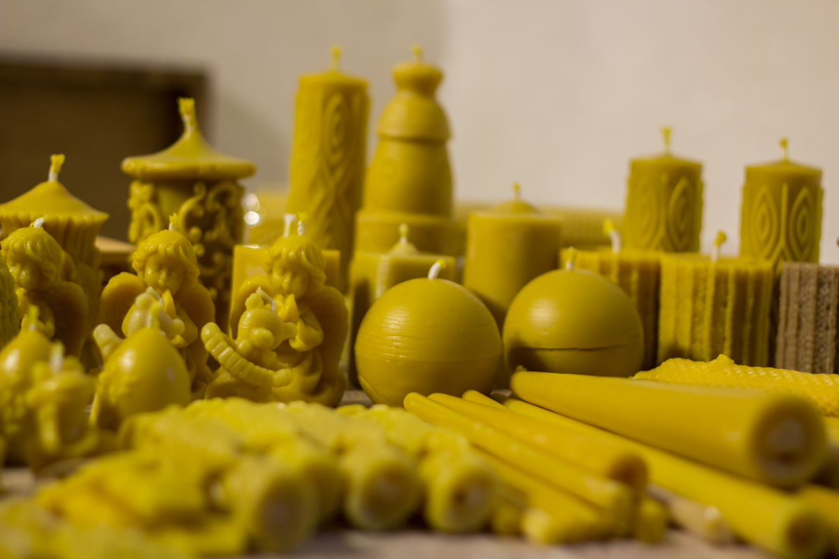 A lot of different shape candles from beeswax