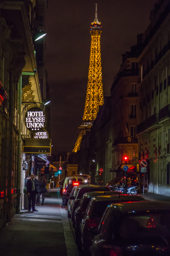 Beautiful Eiffel tower together with night streets