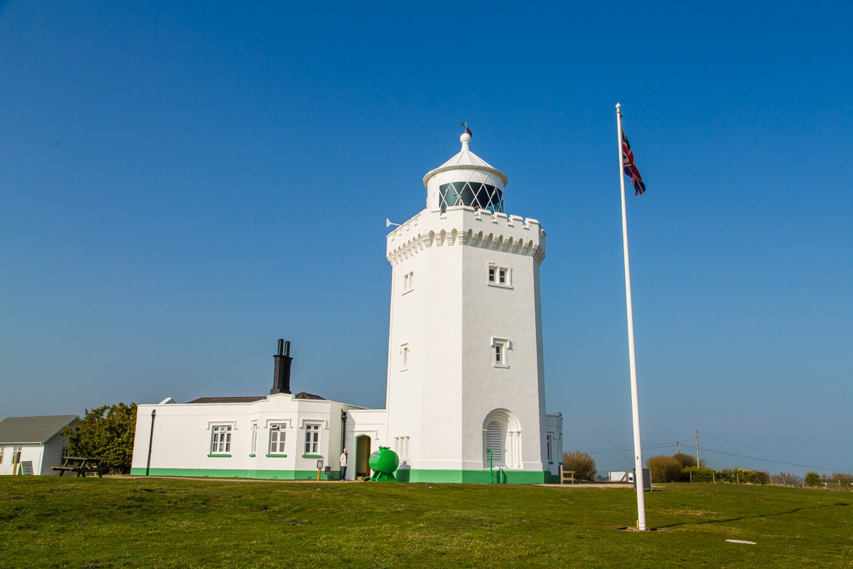 Lighthouse with tea house Dover cliffs