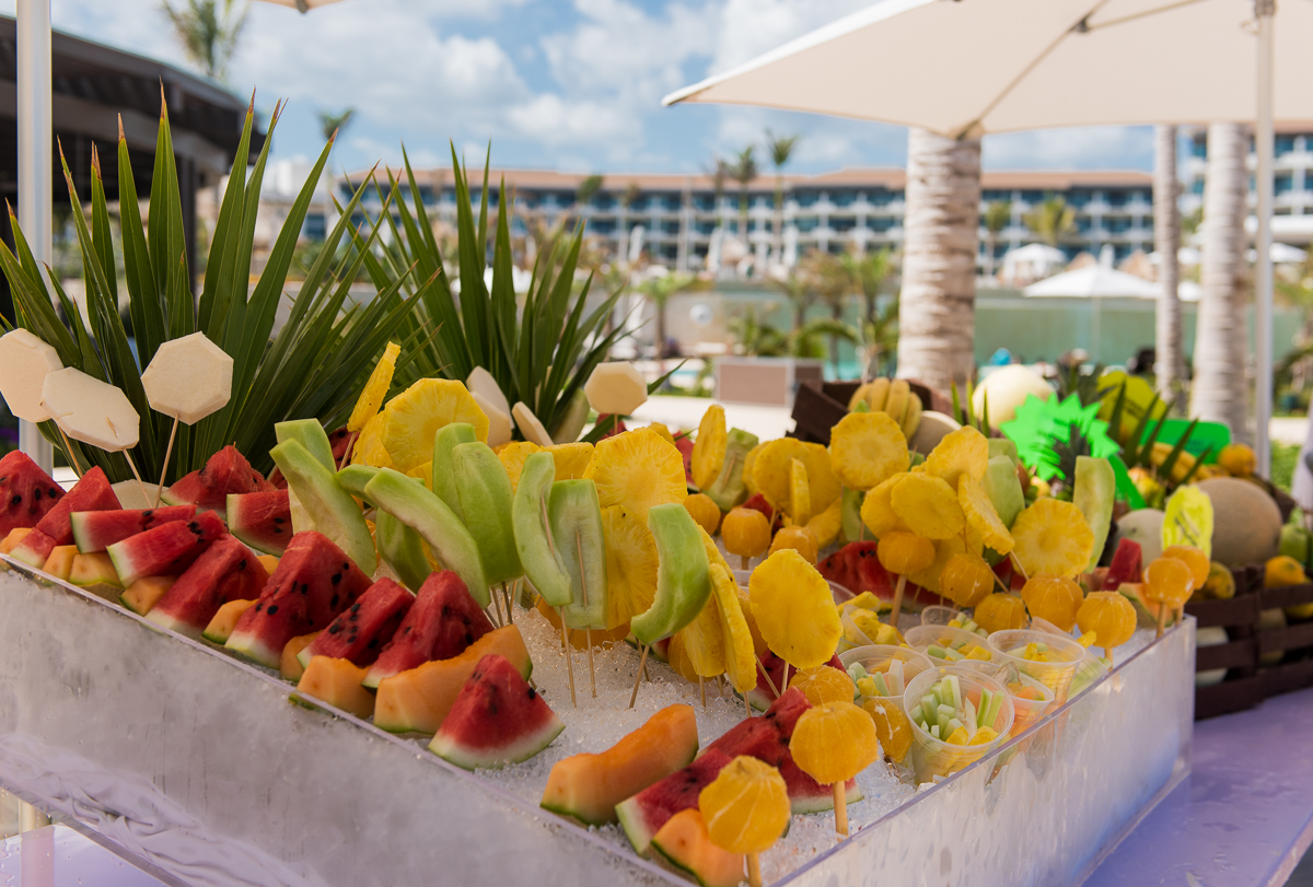 Fruit table by the swimming pool